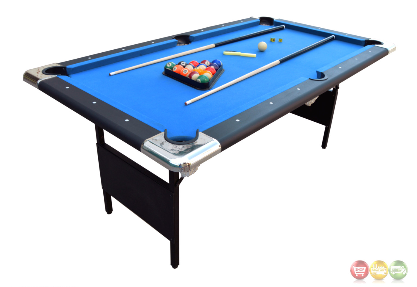 Blue fairmont 6 ft portable folding pool table w carrying for Table retractable