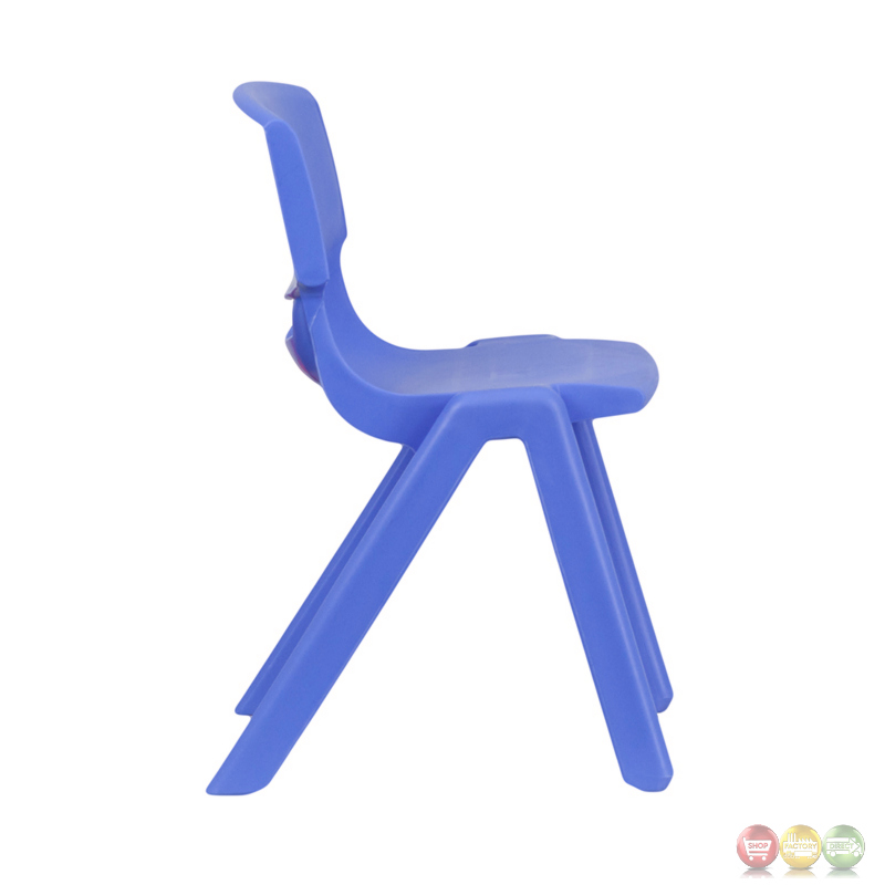 blue plastic stackable school chair with inch seat