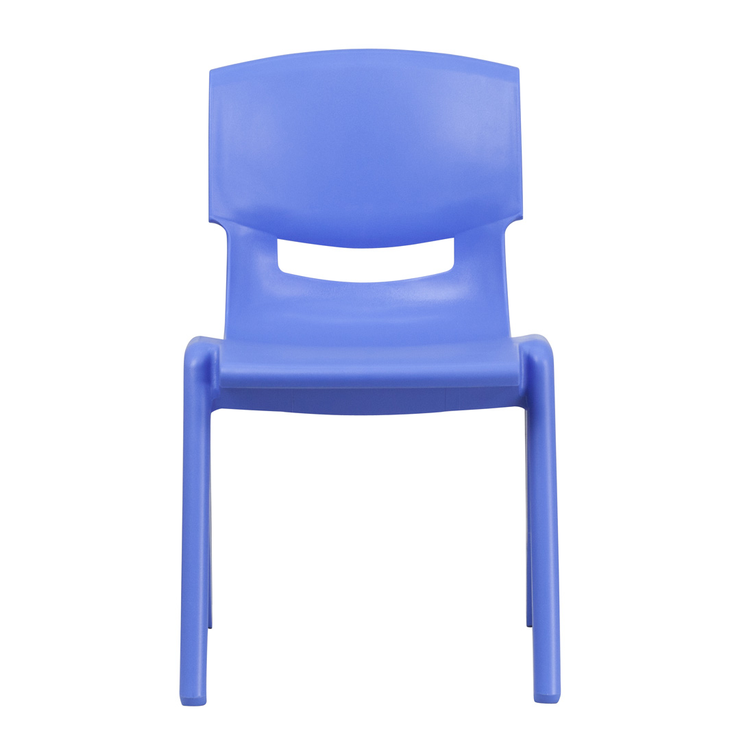 blue plastic stackable school chair with 15 5 inch seat