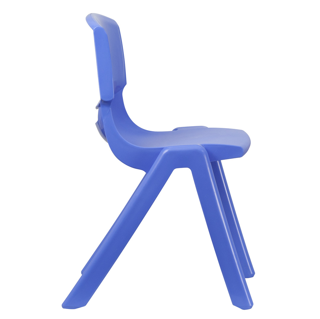 blue plastic stackable school chair with 18 inch seat