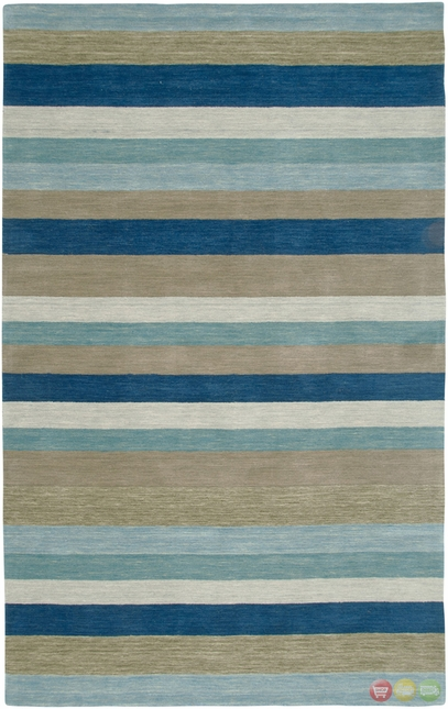 Rizzy Rugs Blue Stripes Hand Loomed Area Rug Platoon PL3129
