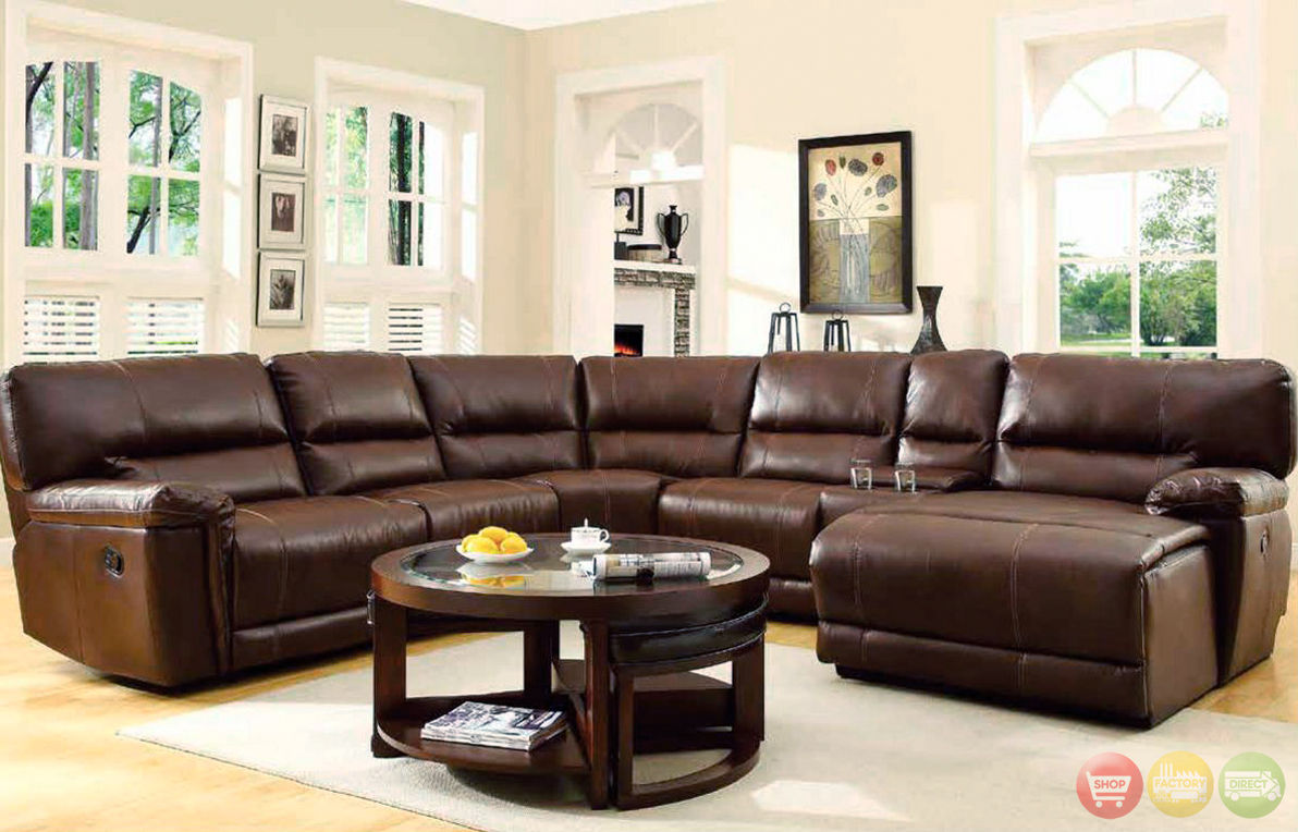 blythe brown bonded leather sectional reclining chaise