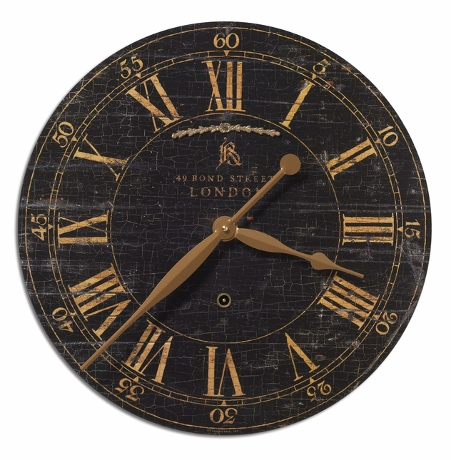 Bond Street Transitional Crackled Black Wall Clock  06029