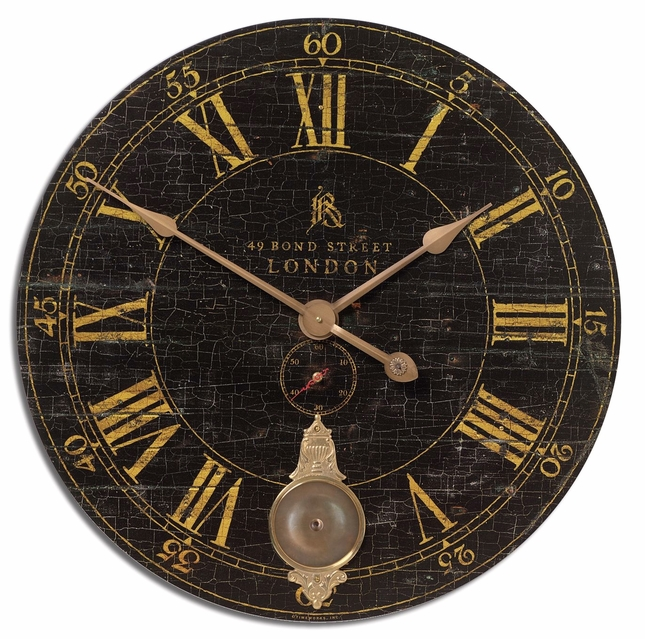 Bond Street Transitional Crackled Black Wall Clock  06030