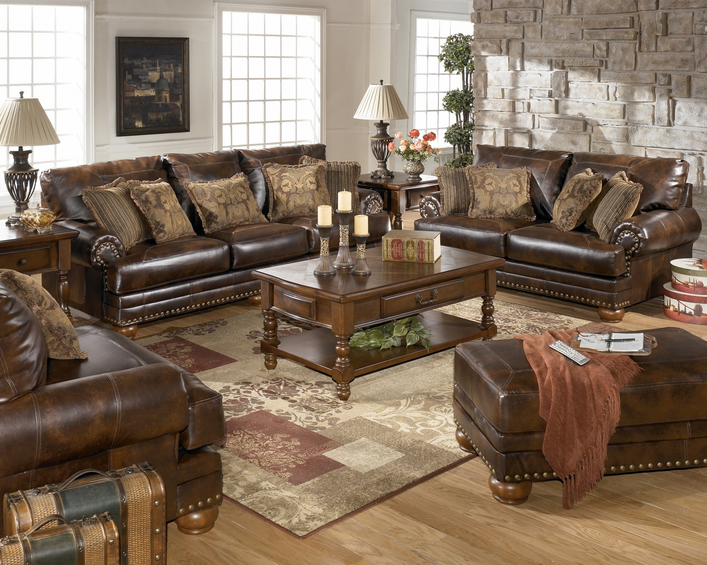 antique leather sofa traditional living room furniture set. Black Bedroom Furniture Sets. Home Design Ideas