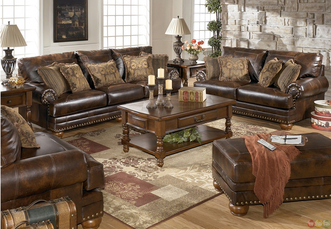 Traditional brown bonded leather sofa loveseat living room set pillows nailheads - Living room furniture traditional ...