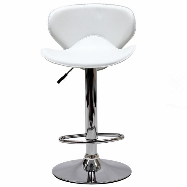 Booster Modern Ergonomic Winged Bar Stool w/ Chrome Base, White