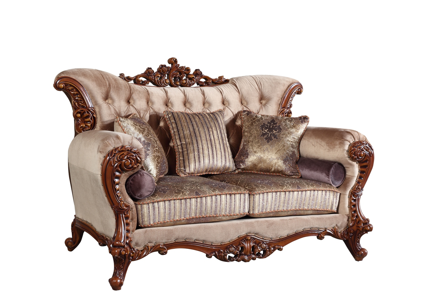 Bordeaux carved wood beige tufted sofa loveseat set with