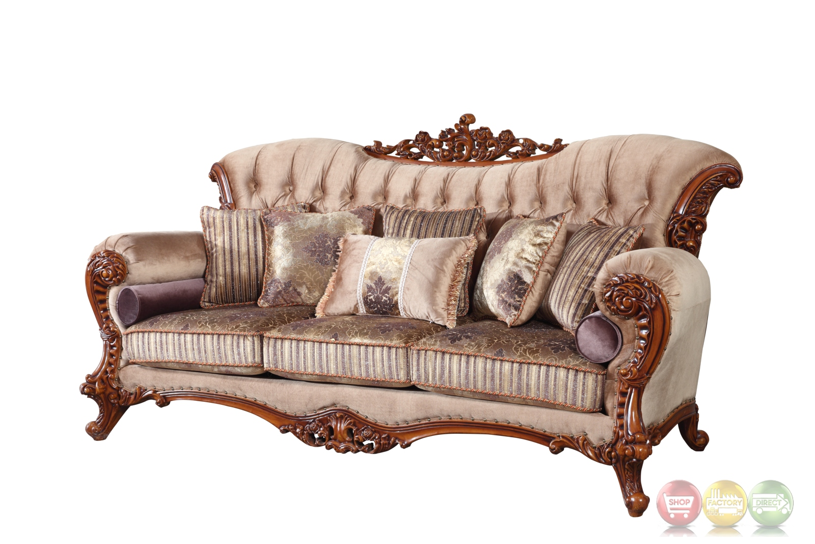 Bordeaux carved wood beige tufted sofa loveseat set with for Tufted couch set