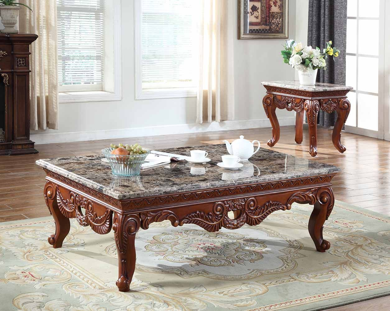 Bordeaux Marble Coffee Table With Hand Carved Design