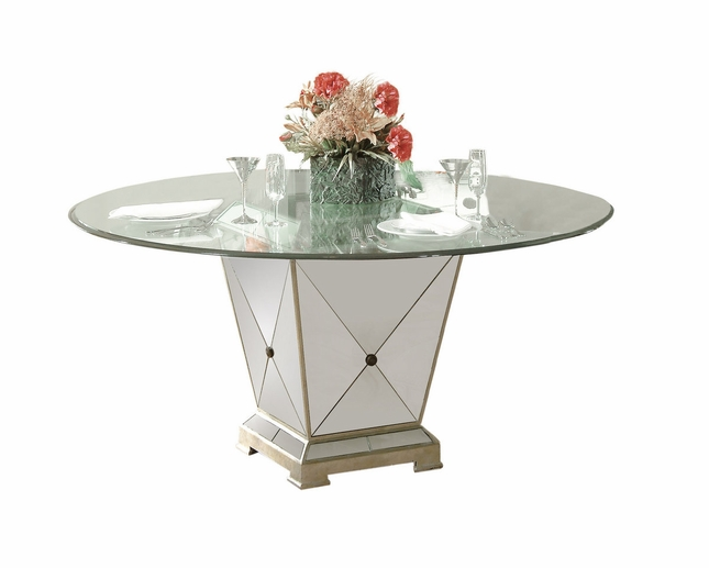 Borghese Mirrored Amp Silver Leaf Dining Table 8311 601 906ec
