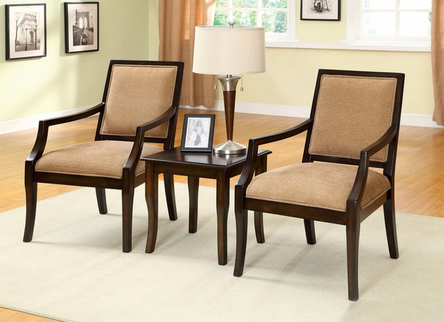Boudry Transitional Espresso Accent Chair With Padded Fabric Seat Cm Ac6990 3pk