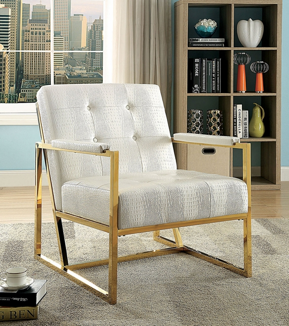 Bova Contemporary Metal Chair W Padded Arm Rest In White