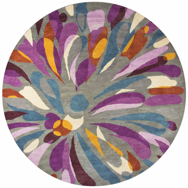 Bradberry Downs Abstract Flower Round Rug In Gray Purple