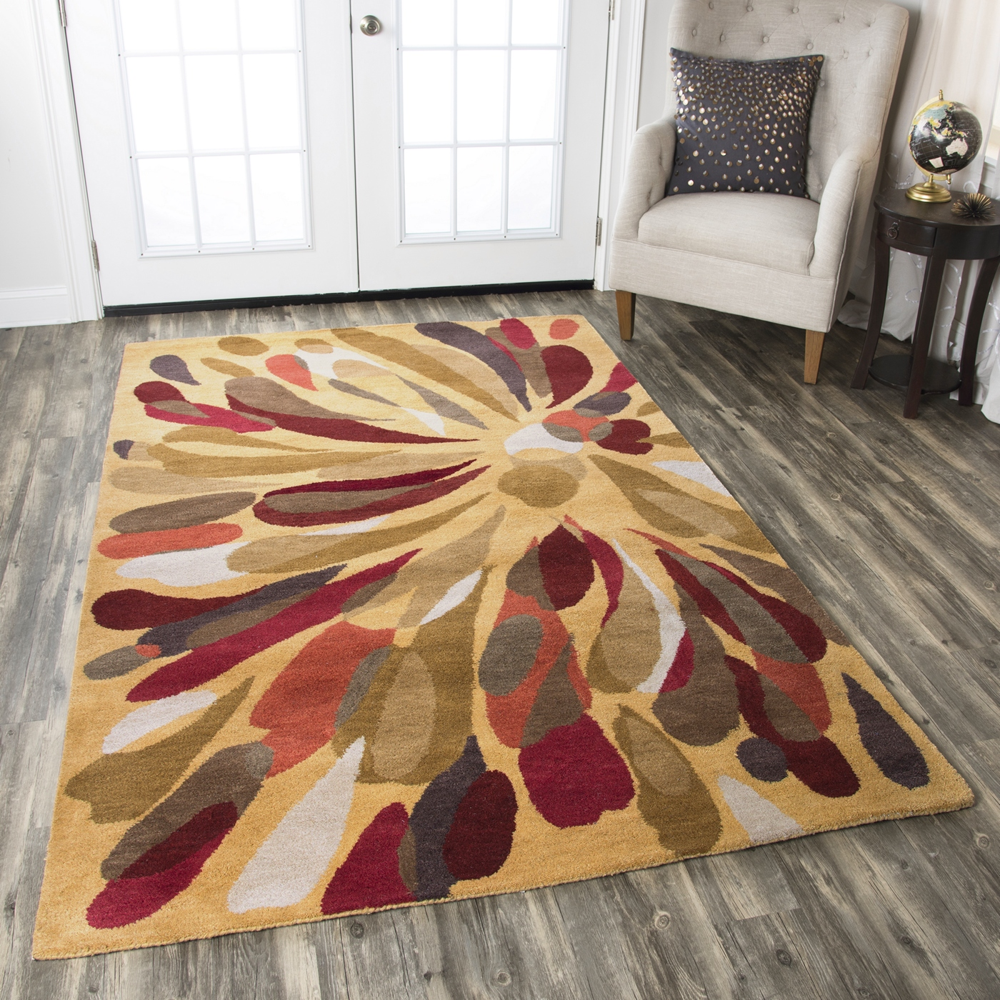 Bradberry Downs Abstract Flower Wool Rug In Burgundy