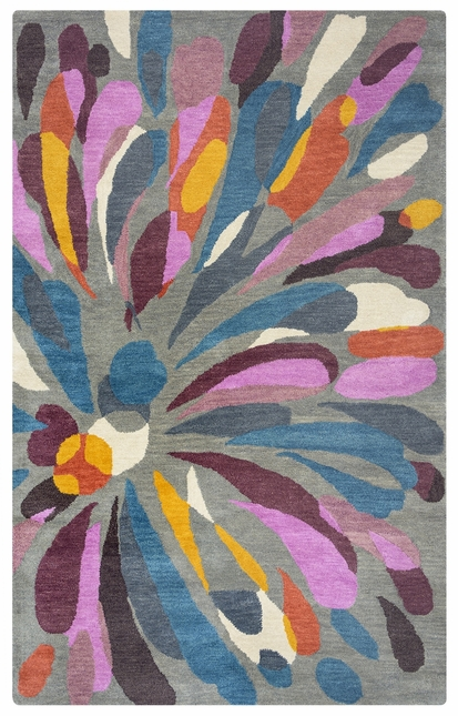 Bradberry Downs Abstract Flower Wool Rug In Gray Purple