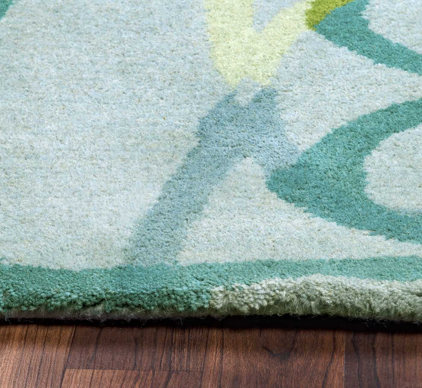 Bradberry Downs Blue Aqua Teal Light Green Yellow Wool: Bradberry Downs Abstract Line Wool Round Rug In Blue