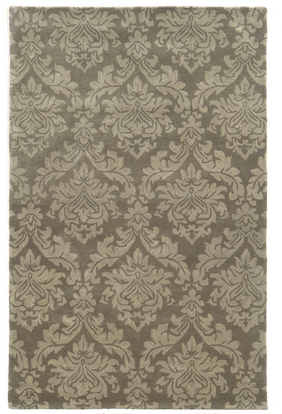Bradberry Downs Damask Pattern Wool Area Rug In Gray