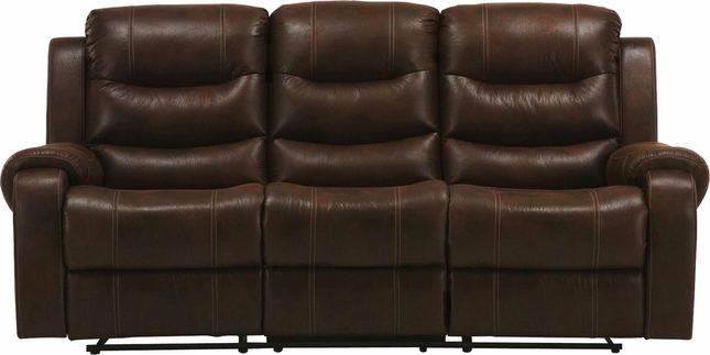 Brahms Contemporary Power Dual Reclining Sofa In Cowboy Brown Fabric