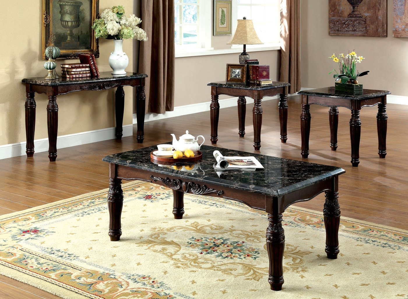 Brampton Traditional Espresso Accent Tables With Faux