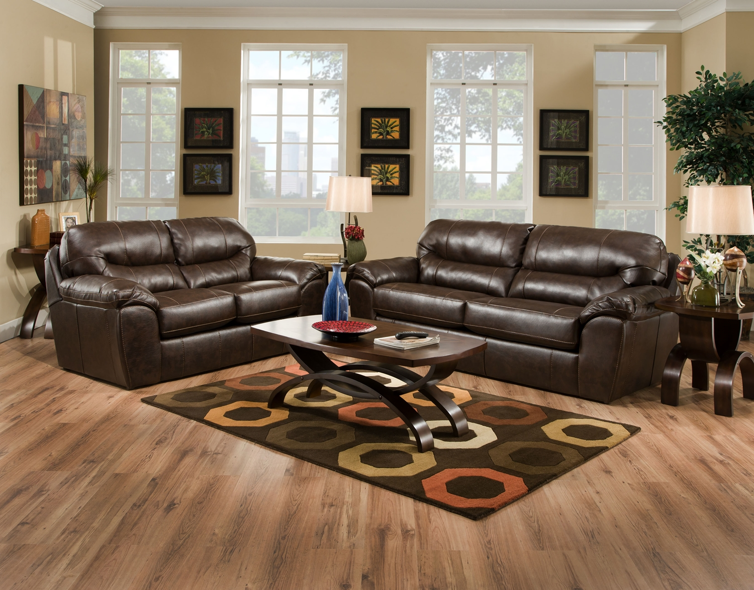 Brantley java brown leather like fabric casual living room for Leather and fabric living room sets