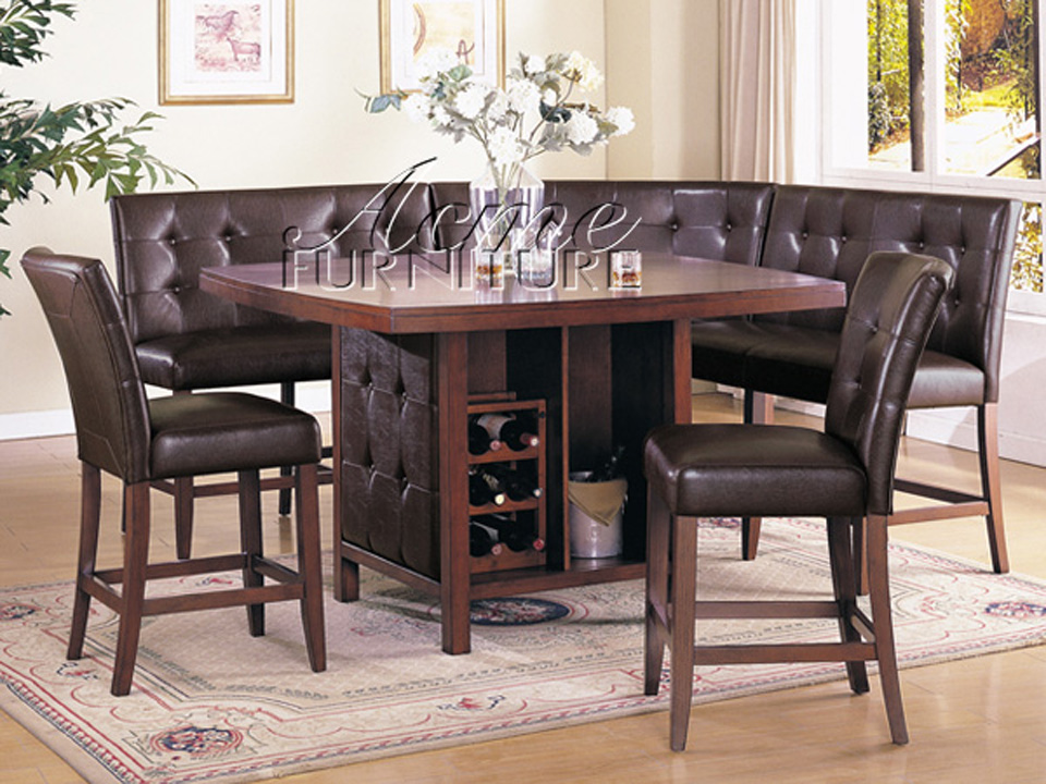 Bravo 6 piece dining set counter height corner seating 2 for Dining room table and bench set