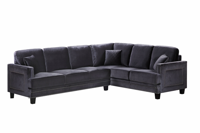 Braylee Modern Grey Velvet Sectional Sofa with Nailhead Trim