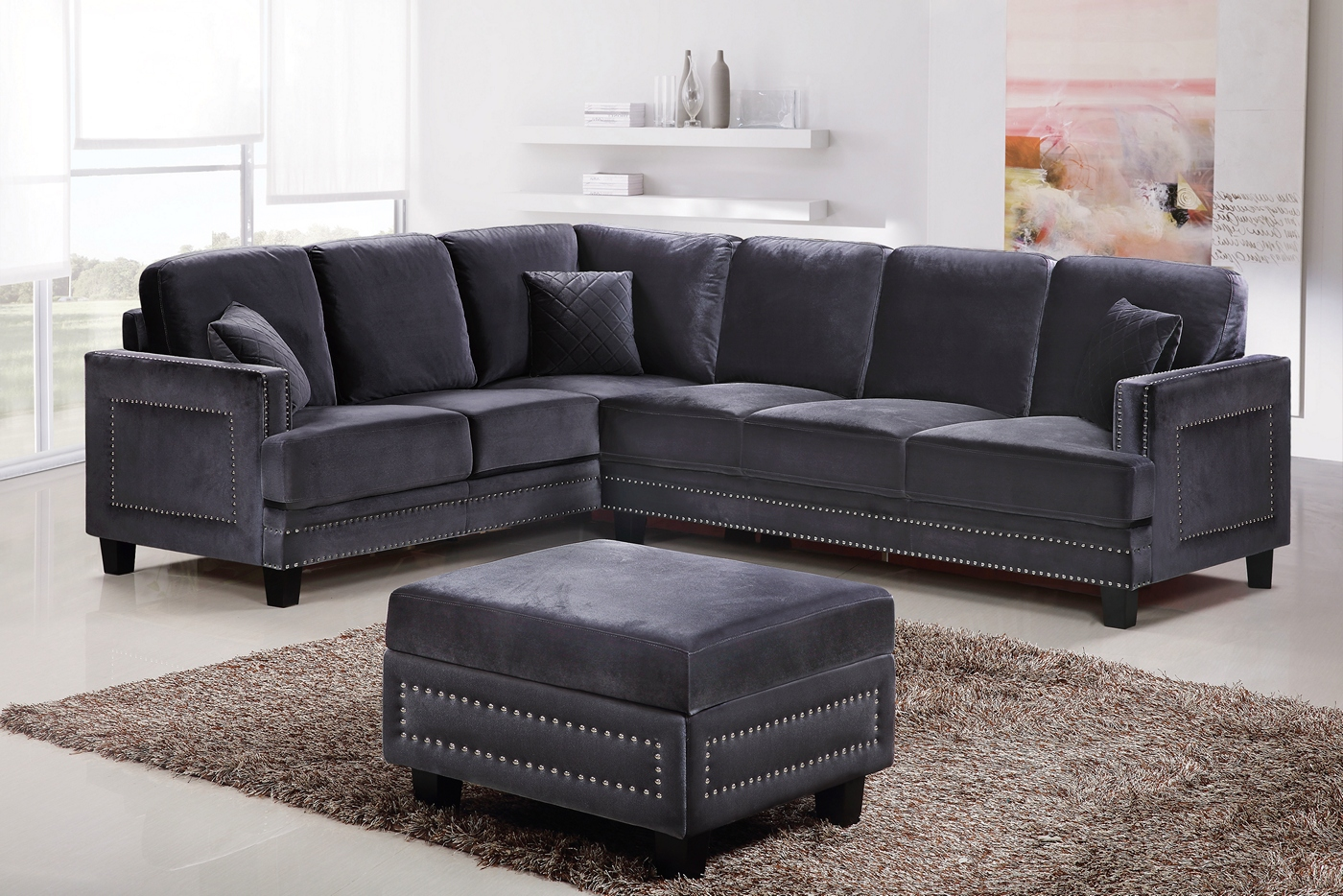 Grey Sectional Sofa With Nailhead Trim Braylee Modern Grey Velvet Sectional Sofa With Nailhead Trim