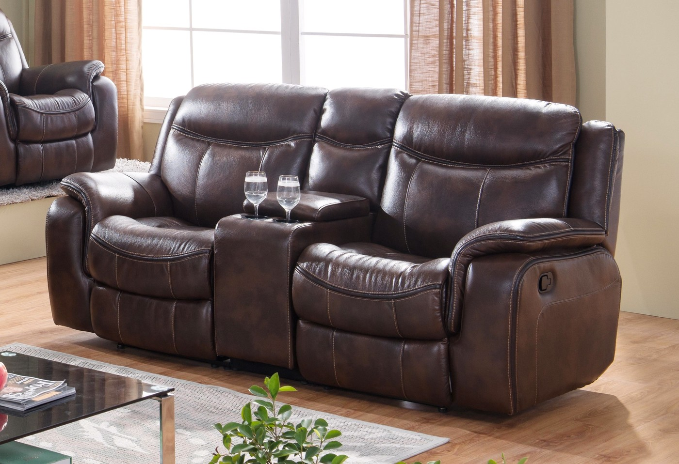 Braylon Black Reclining Sofa Loveseat Set In Leather Like Fabric
