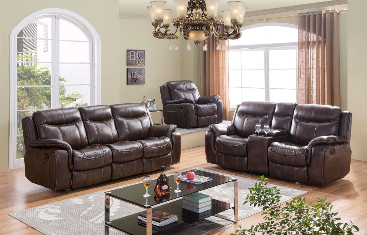 braylon brown reclining sofa loveseat set in leather like fabric. Black Bedroom Furniture Sets. Home Design Ideas