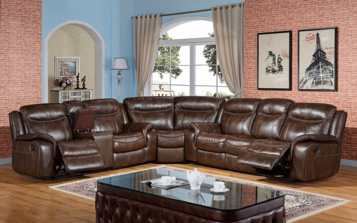 braylon classic brown reclining sectional in premium leather air fabric. Black Bedroom Furniture Sets. Home Design Ideas