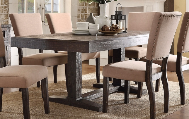 Breana Rustic Trestle Dining Table In Brown Reclaimed Wood Finish - 72 trestle dining table
