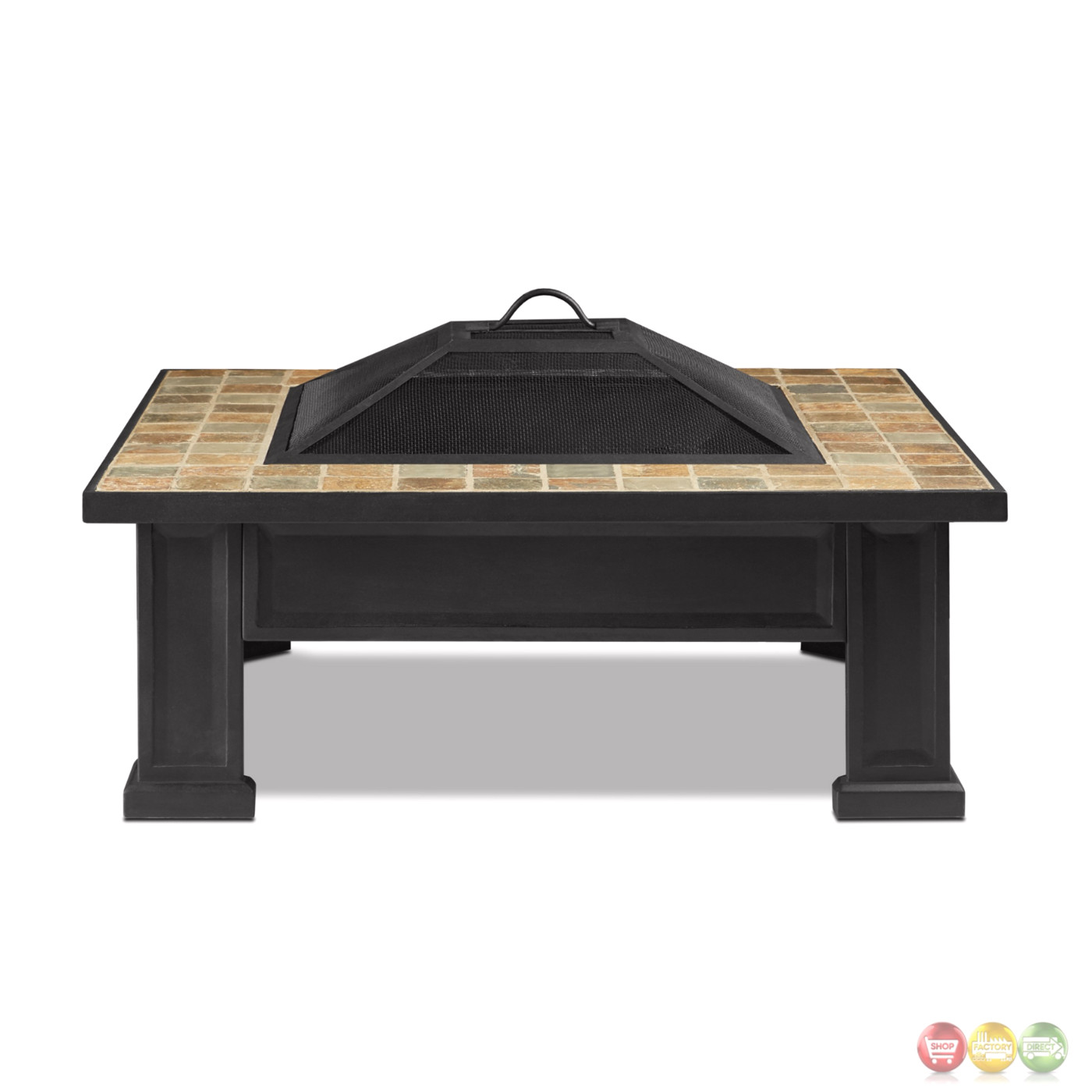 """Breckenridge Outdoor Wood-burning 34"""" Square Fire Pit With ..."""