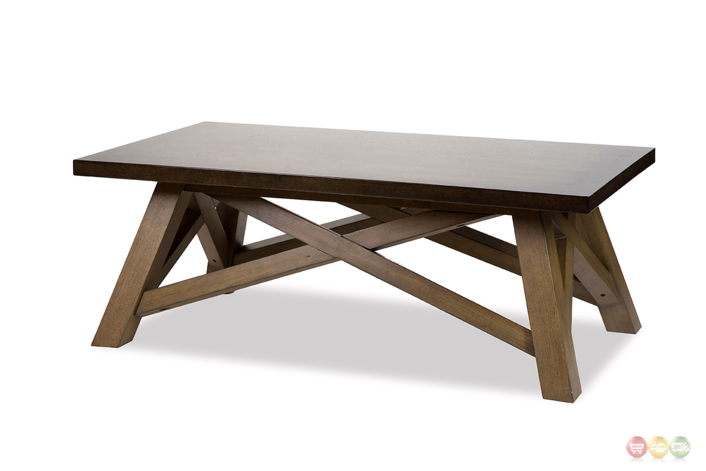 Breckenridge rustic coffee table with wooden x 39 accent aluminum top Rustic wooden coffee tables