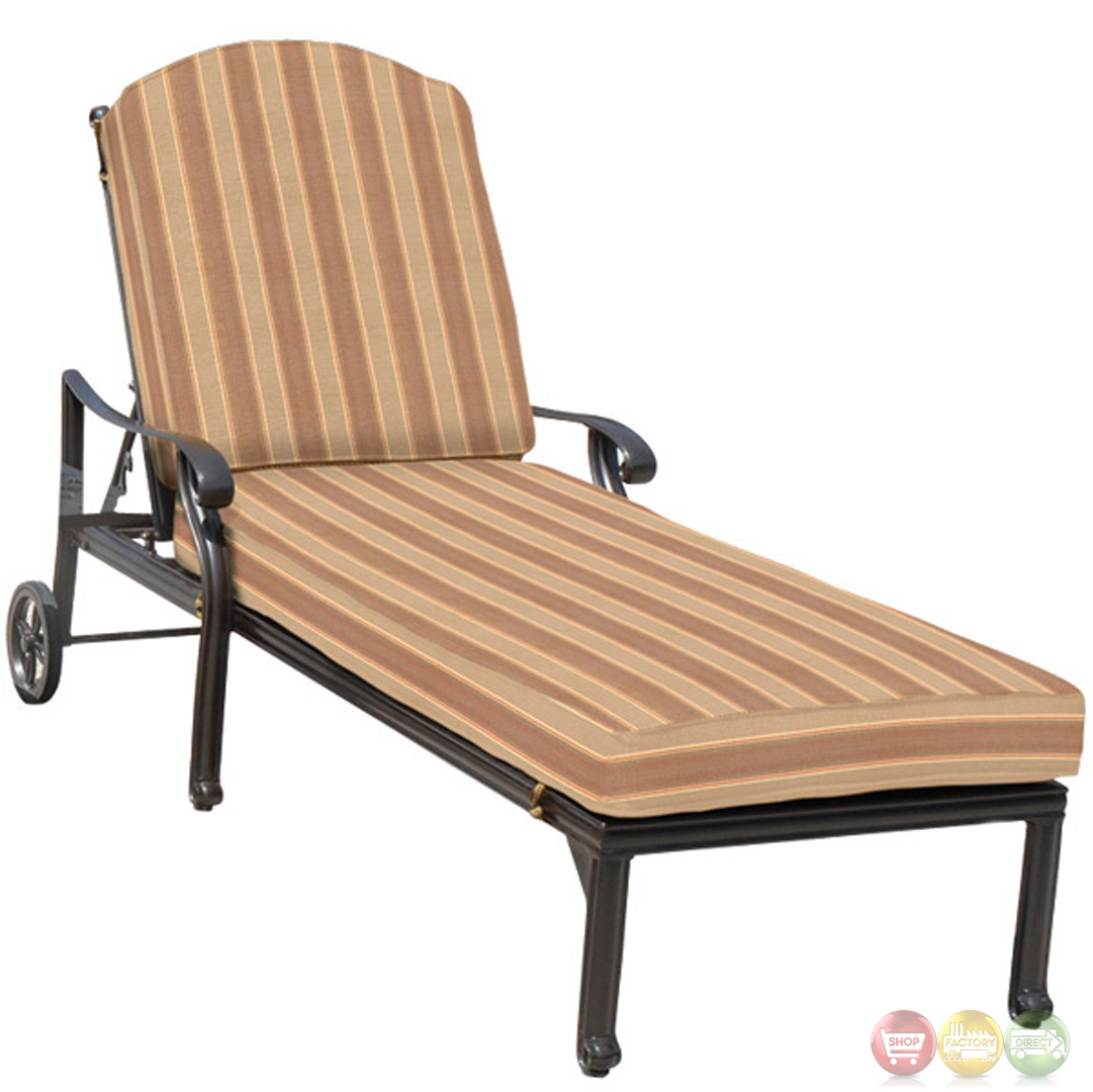 Brentwood 3 piece cast aluminum outdoor chaise lounge set for Chaise lounge construction