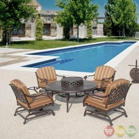 Brentwood 6 Piece Cast Aluminum Outdoor Dining Set with Fire Pit