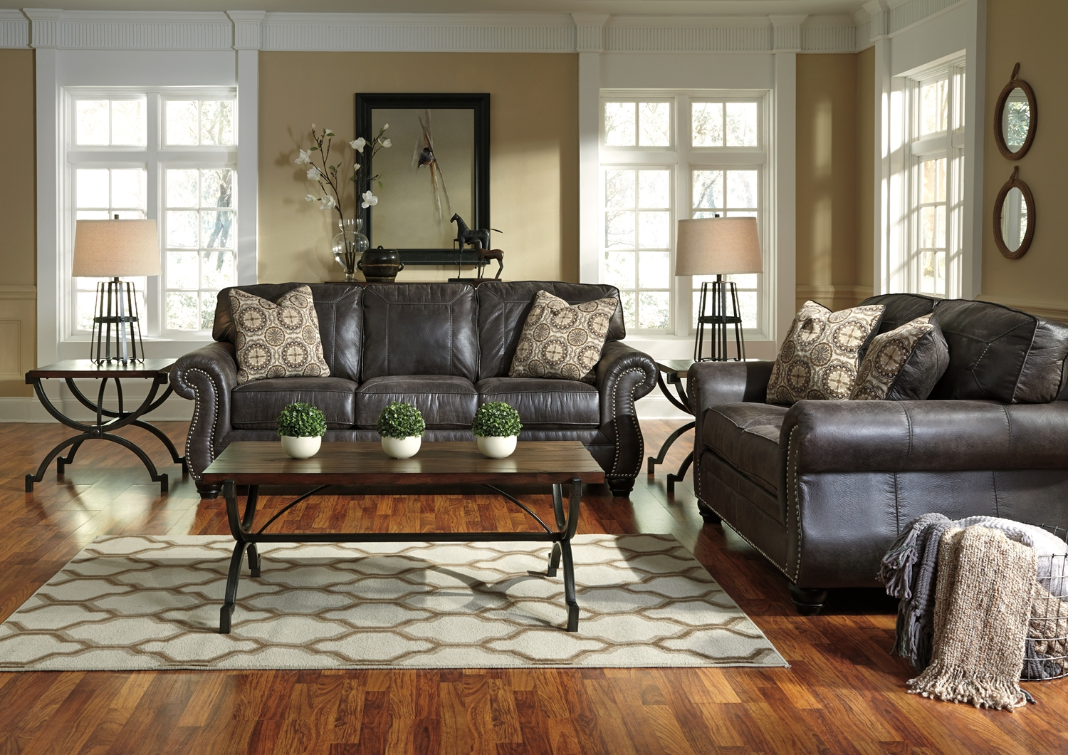 Breville Charcoal Traditional Living Room Furniture Set W Nailhead Trim