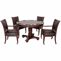 "Bridgeport 5pc 48"" Poker Game Table Set With Chairs In Dark Walnut"