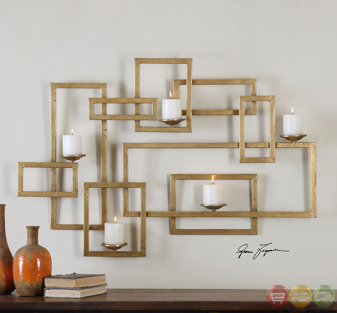 Brighton Contemporary Modern Lightly Antiqued Gold Leaf Wall Candle Sconce 12871