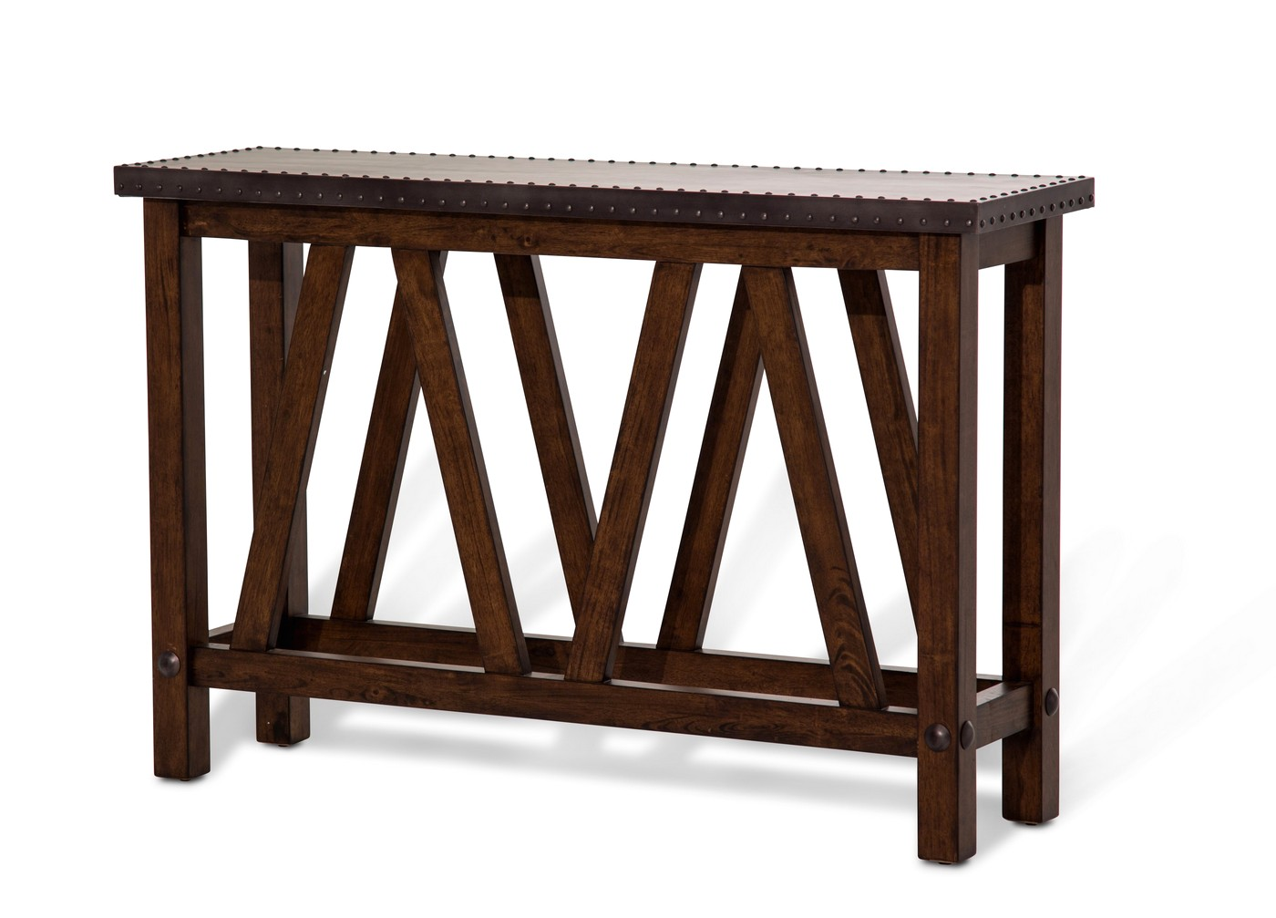 Brighton rustic cappuccino sofa table with metal top for Sofa table metal