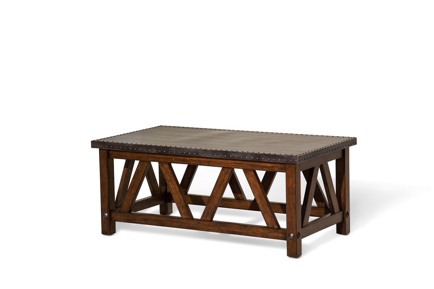 Brighton Rustic Rectangular Coffee Table With Metal Top Cappuccino Finish