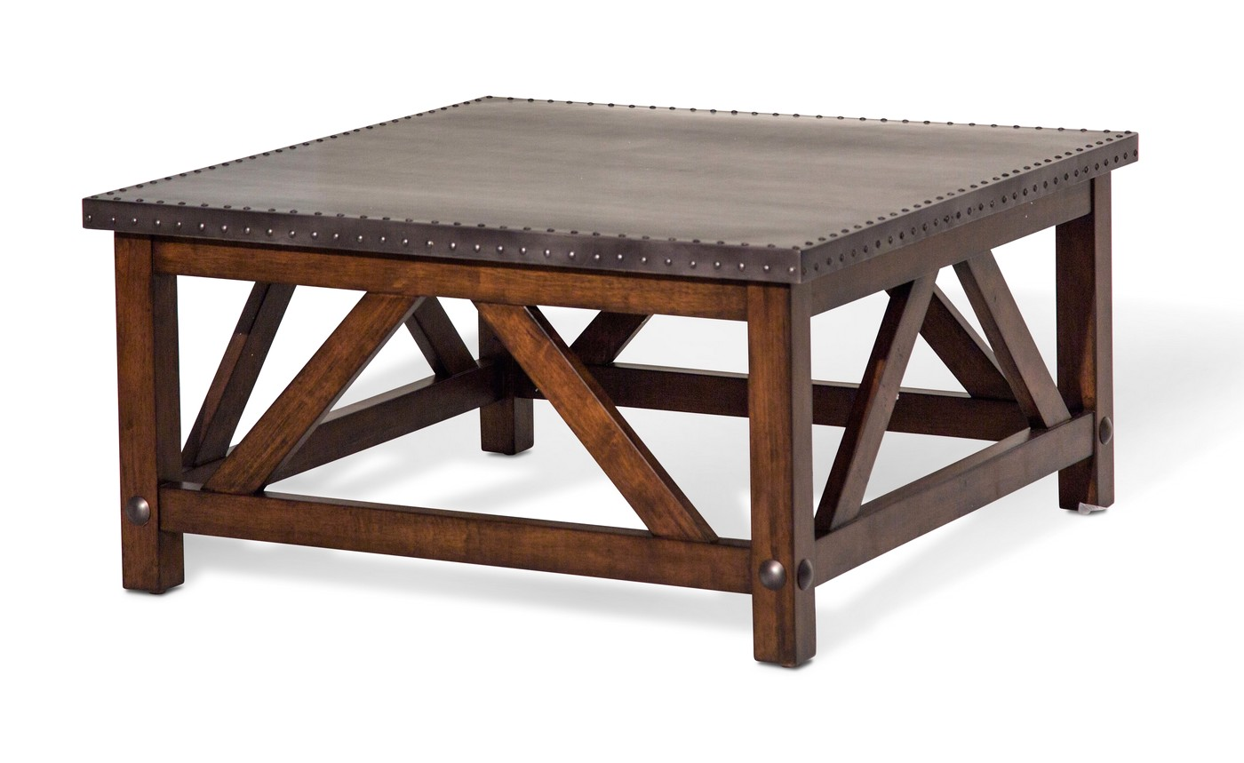 Brighton rustic square coffee table with metal top cappuccino finish Metal square coffee table