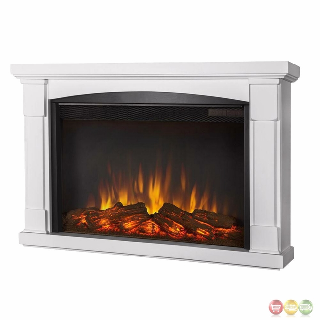 Slim Wall Mount Electric Fireplace Part - 35: Brighton Slim Wall Mounted Electric Fireplace In White, 4700BTU, 35x22