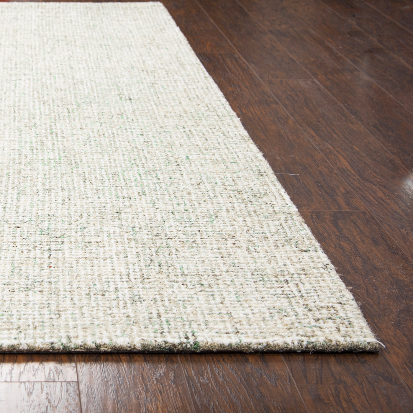 Brindleton Solid Canvas Pattern Area Rug In Green Amp Ivory