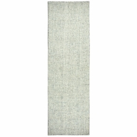 """Brindleton Soft Wool Rectangle Runner Area Rug 2'6""""x 10' Green Ivory White Solid"""