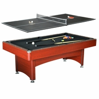 Bristol 7-ft Game Table 2-in-1 Pool & Table Tennis In Black And Cherry