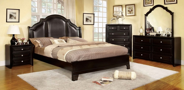 Bristol Transitional Espresso Bedroom Set with Crown Leatherette ...