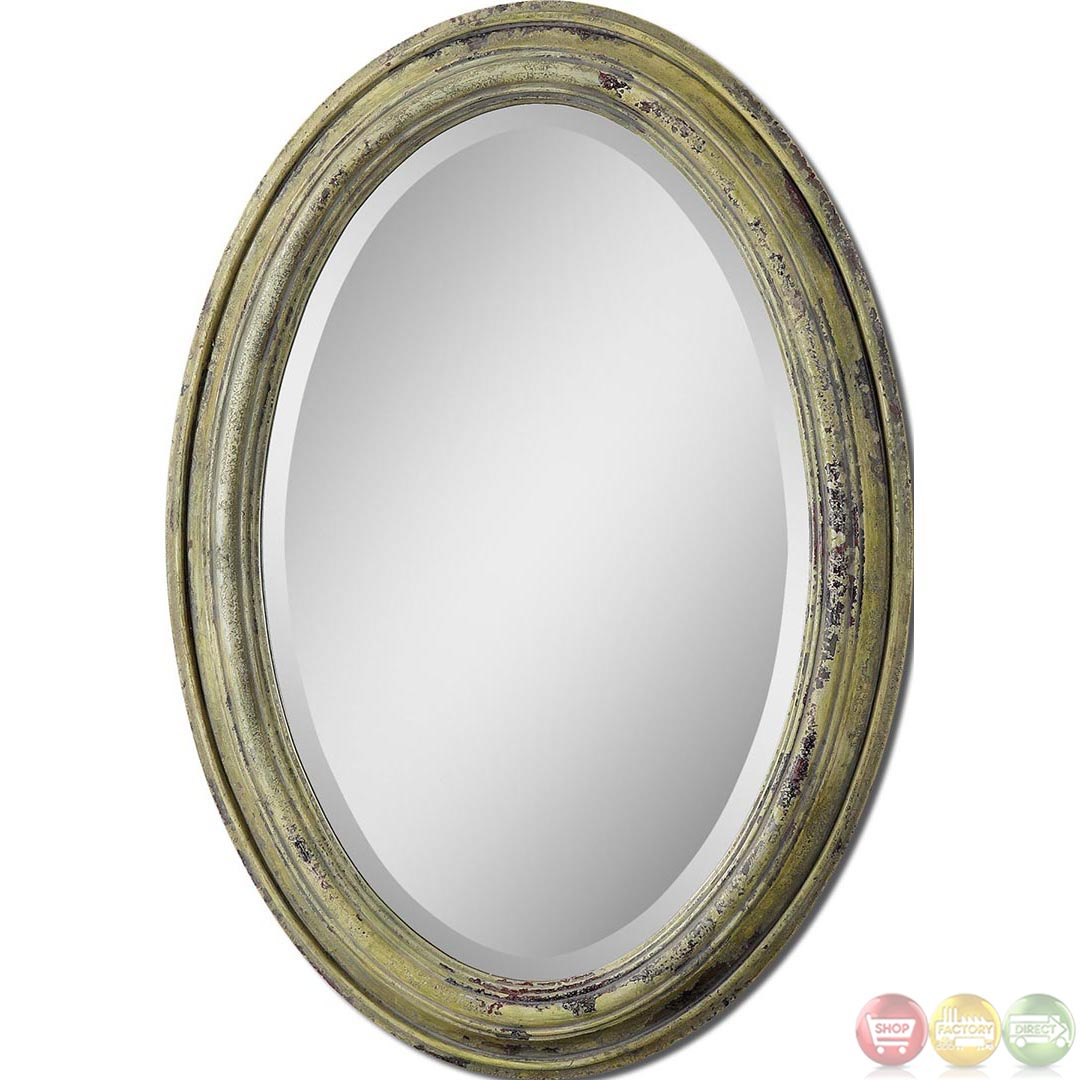 brizona traditional heavily distressed aged yellow oval vanity mirror 12835. Black Bedroom Furniture Sets. Home Design Ideas