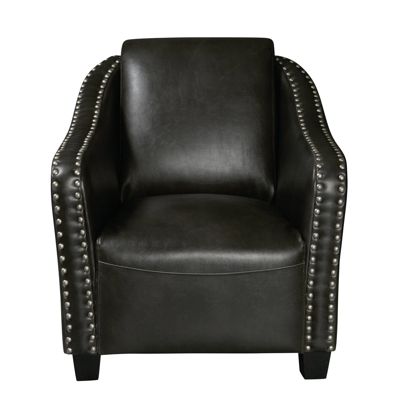 Superieur Details About Broadmoor Traditional Accent Club Chair W/ Nailhead Trim Dark  Grey Faux Leather