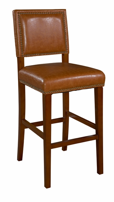 Brook Caramel Vinyl Cushioned Bar Stool